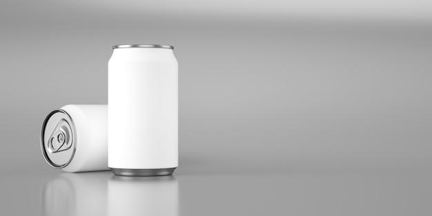 Dos latas blancas mate sobre metalizado