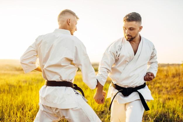 Dos luchadores de karate en lucha de entrenamiento al aire libre