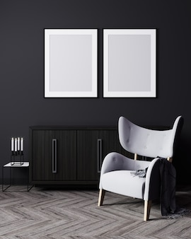 Dos marcos de carteles verticales en blanco se burlan en un interior moderno oscuro