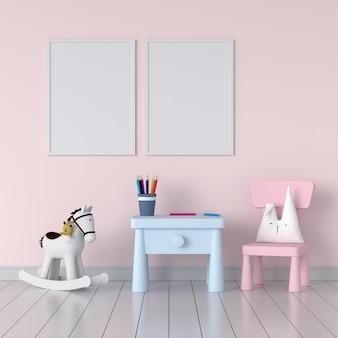 Dos marcos de fotos en blanco en la habitación infantil rosa