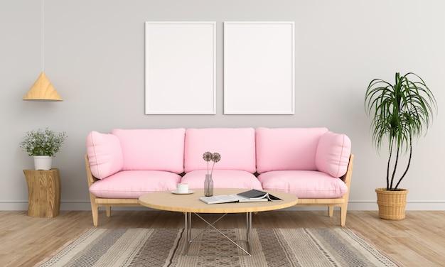 Dos marcos de fotos en blanco en la sala de estar