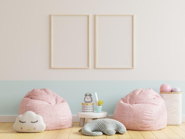 Dos marcos de fotos en la habitación de los niños, la habitación de los niños, la representación 3d