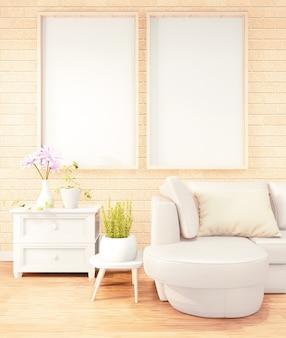 Dos marcos de fotos verticales para obras de arte, sofá blanco en el diseño interior de la sala loft, diseño de pared de ladrillo. renderizado 3d