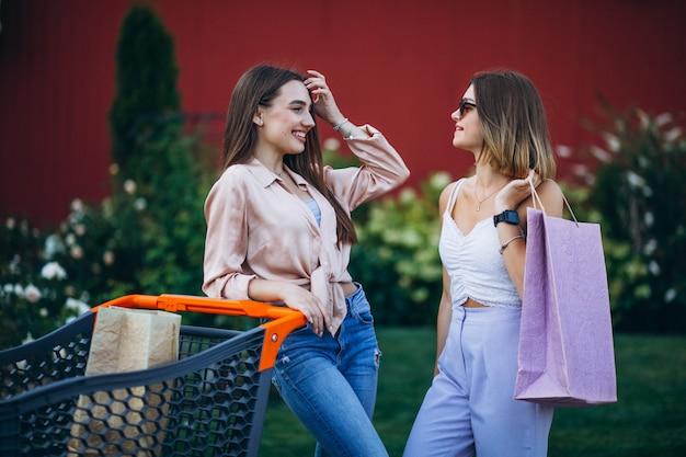 Dos mujeres de compras por el mercado con carrito de compras