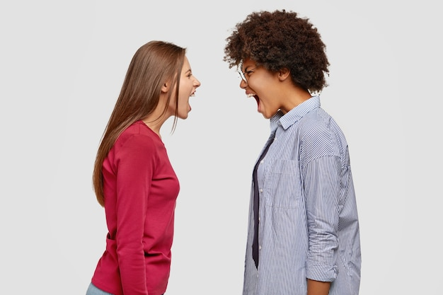 Dos mujeres desesperadas furiosas enojadas se gritan en voz alta, tienen desacuerdo o disputa,