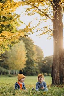 Dos niños hermanos sentados en la hierba bajo el árbol