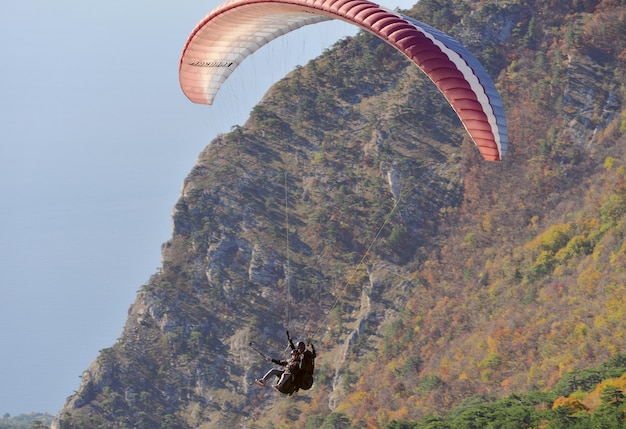 Dos con un palo selfie volando en parapente sobre las montañas cubiertas de bosque