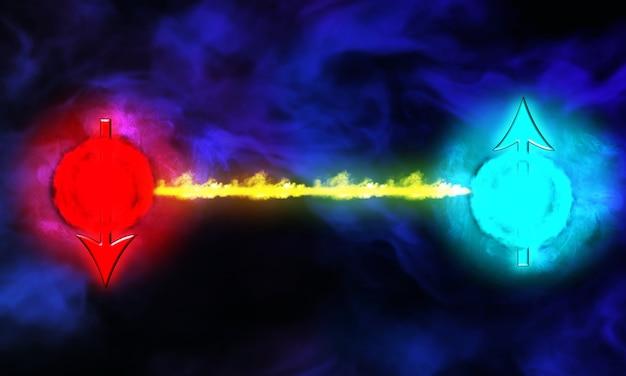 Dos partículas listas para chocar entre sí 3d render partícula de dios, el bosón de higgs, física, construcción de paz, simulación por computadora