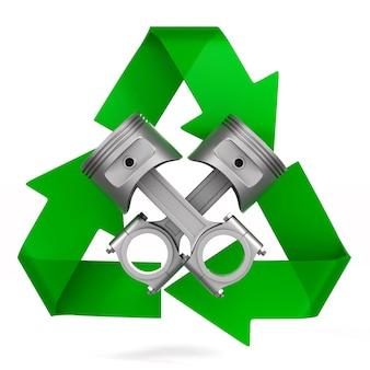 Dos pistones de motor y símbolo reciclado en espacio en blanco
