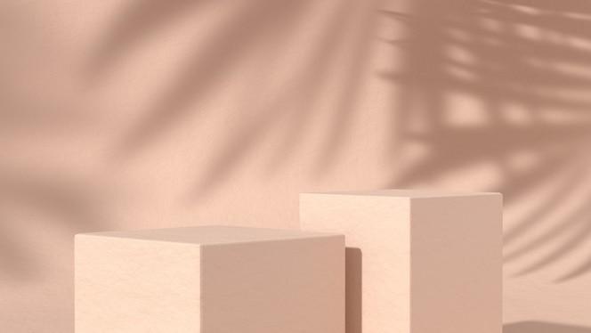 Dos podios abstractos para la colocación de productos cosméticos en fondo natural