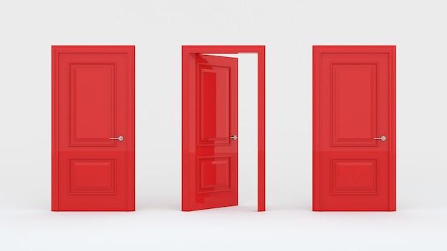 Dos puertas rojas cerradas y una puerta abierta aislada en una pared blanca