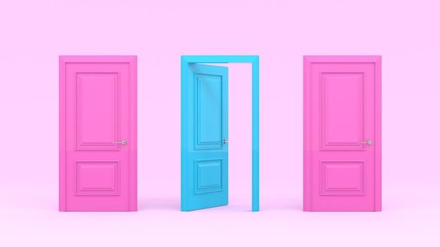 Dos puertas rosadas cerradas y una puerta abierta turquesa en una pared de color rosa pastel