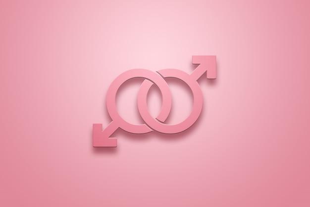 Dos signos masculinos son de color rosa en rosa sobre un rosa. el concepto de las relaciones entre personas del mismo sexo.