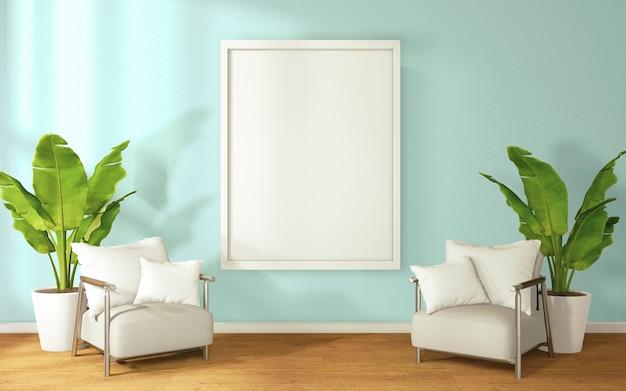 Dos sillas sofás al lado de la habitación y un marco de imagen en el medio de la habitación., 3d
