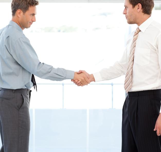Dos socios concluyen un trato estrechándose la mano