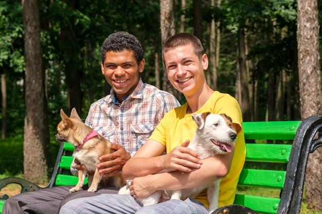 Dos sonrientes amigos afroamericanos y caucásicos con perros relajados en el banco en el parque en verano