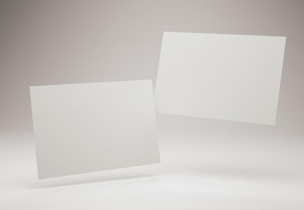 Dos tarjetas de visita blancas en blanco plantilla de diseño de tarjeta de visita