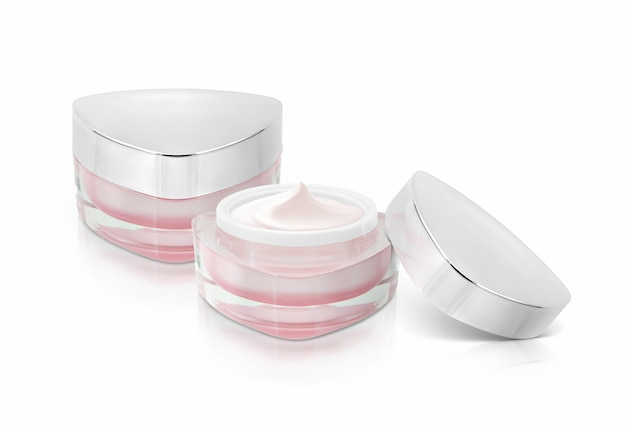Dos tarros cosméticos triángulo rosa