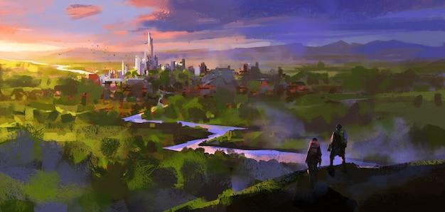 Dos viajeros descubrieron las ruinas de la antigua ciudad en el denso bosque, ilustración 3d.