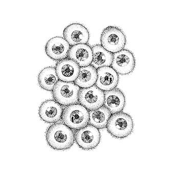 Dotwork de globos oculares humanos. ilustración de trama del concepto scary eyes. boceto dibujado a mano del tatuaje.