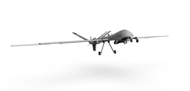 Drone depredador militar sobre un fondo blanco 3d render