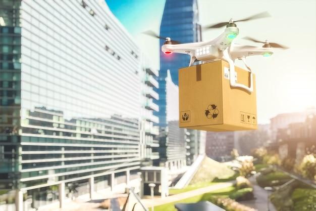 Drone de envío en la ciudad