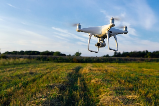 Drone quad helicóptero en campo de maíz verde