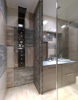 Ducha minimalista separada del baño.
