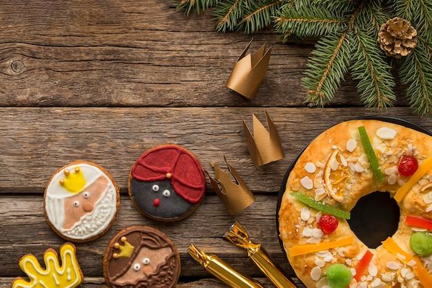 Dulce postre de epifanía día español y galletas