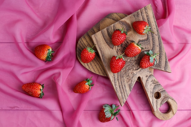 Dulces deliciosas fresas, vista superior