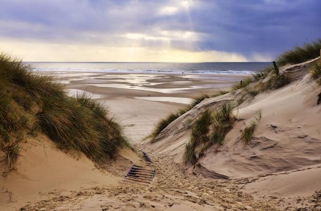 Dunas de arena en amrum, alemania, frente a la playa