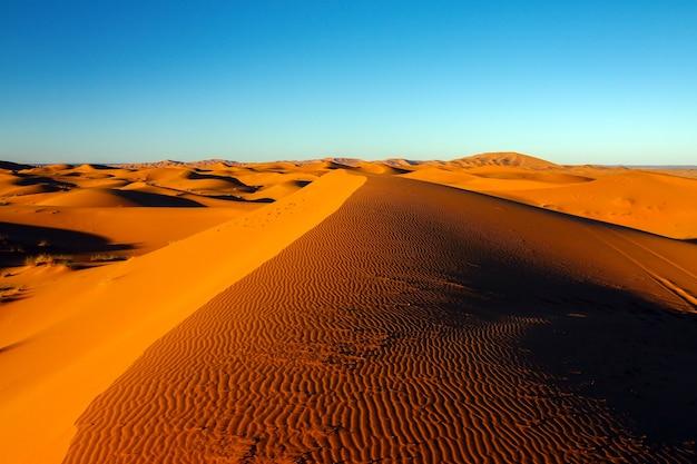 Dunas de arena del valle del desierto del desierto del sáhara y cielo azul
