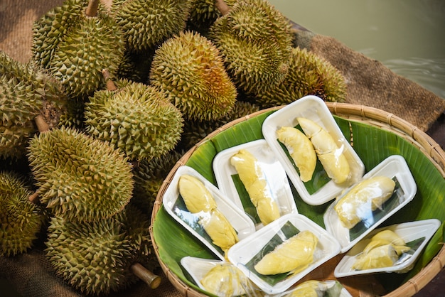 Durian fresco pelado en bandeja madura fruta tropical durian para venta en el mercado