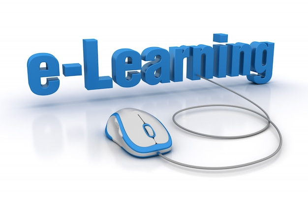 E-learning 3d word con globe world y computer mouse