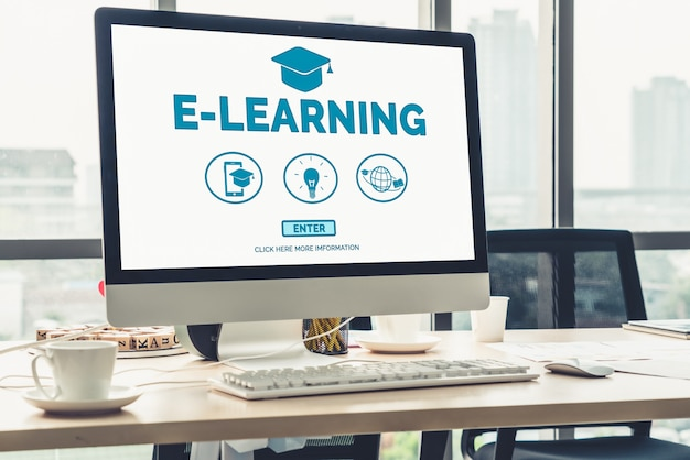 E-learning y educación en línea para el concepto de estudiante y universidad.