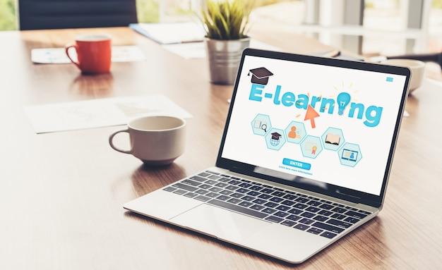 E-learning y educación en línea para estudiantes y concepto universitario.