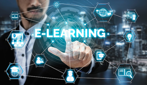 E-learning para estudiantes y concepto universitario