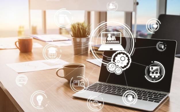 E-learning para estudiantes y concepto universitario
