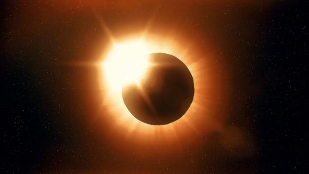 Eclipse solar completo. la luna cubre principalmente el sol visible creando un efecto de anillo de diamantes. este fenómeno astronómico puede verse como un signo del fin del mundo. ilustración 3d