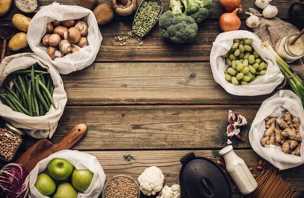 Eco amigable concepto de compra o cocina de alimentos estilo de vida libre de plástico