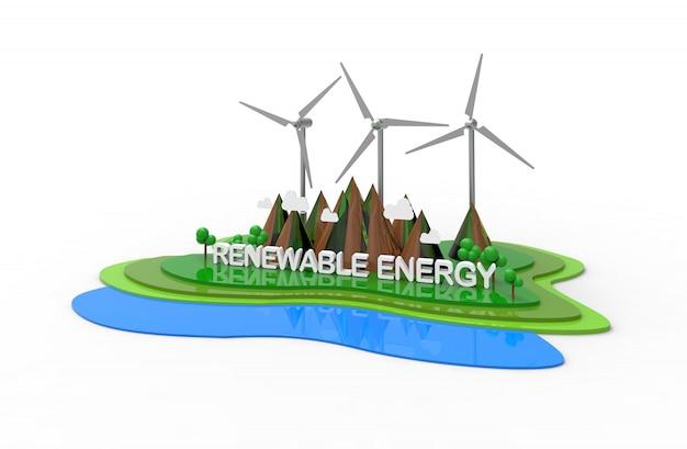 Eco paisaje natural, energías renovables. ilustración