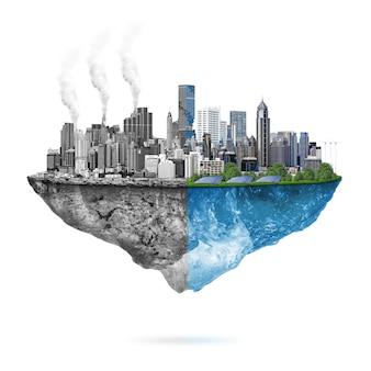 Ecología verde vs. contaminación.