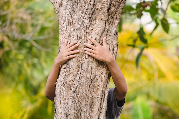 El ecologista abrazador de árboles está abrazando el tronco de madera en el bosque