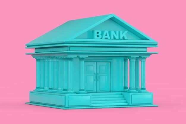 Edificio del banco azul en estilo duotone sobre un fondo rosa. representación 3d