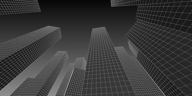 Edificio del centro de negocios y finanzas arquitectura de imagen 3d, ilustración 3d