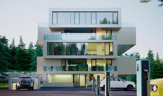 Edificio y coche eléctrico 3d