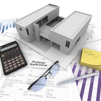 Un edificio encima de una mesa con formulario de solicitud de hipoteca, calculadora, planos, etc.