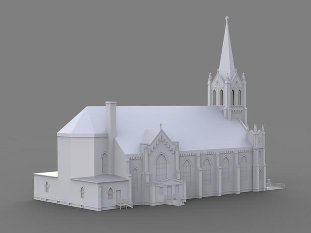 El edificio de la iglesia católica, vistas desde diferentes lados. ilustración blanca tridimensional sobre un fondo gris. representación 3d.