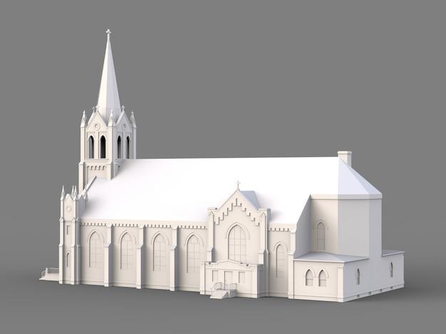 El edificio de la iglesia católica, vistas desde diferentes lados. ilustración blanca tridimensional sobre una superficie gris