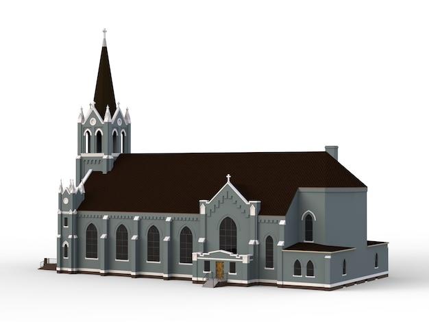 El edificio de la iglesia católica, vistas desde diferentes lados. ilustración tridimensional sobre un fondo blanco.
